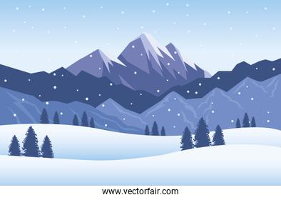 beautiful snowscape with snow scene