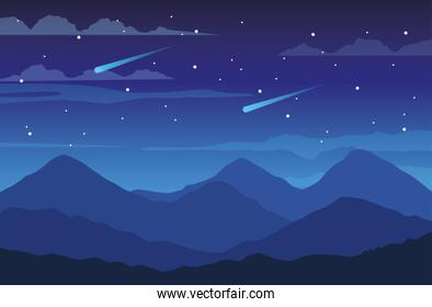 beautiful landscape with mountains night scene