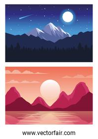 beautiful landscapes with day and night scenes