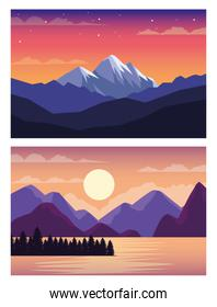 beautiful landscapes with mountains and lake scenes