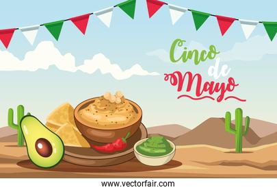 cinco de mayo celebration with delicious food desert scene