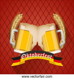 Oktoberfest celebration illustration, beer festival design