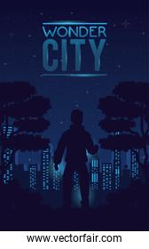 wonder city with buildings and man cityscape scene