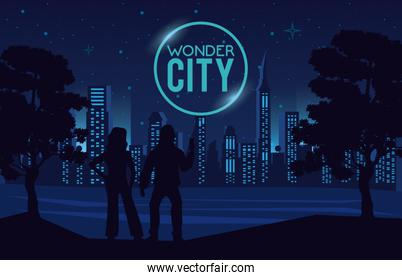 wonder city with buildings and persons cityscape scene