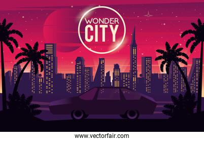 wonder city with buildings and car cityscape scene