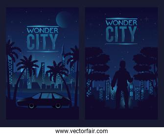 wonder city with buildings and car with man cityscape scene