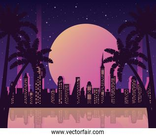 wanderlust poster with palms and cityscape scene