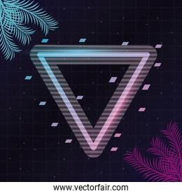 wanderlust poster with palm leafs and geometric figures