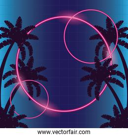 wanderlust poster with tree palms and geometric figures