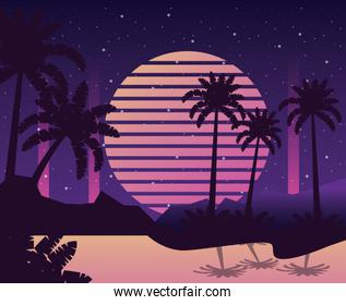 wanderlust poster with tree palms scene