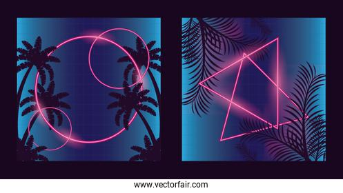 wanderlust poster with palms and leafs with geometric figures
