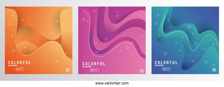 liquid and waves colorful banners backgrounds