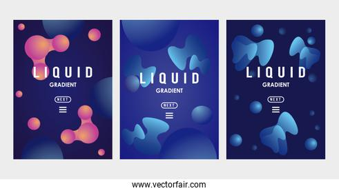 liquid and waves gradien banners backgrounds