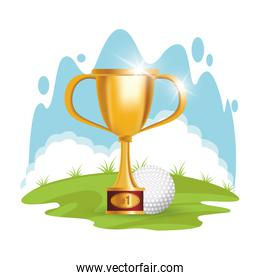 golf sport ball with trophy cup