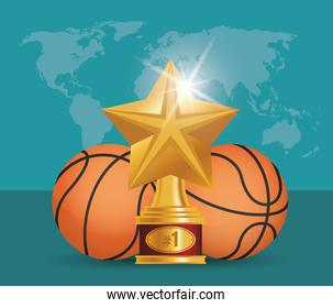 sport basketball balloons with trophy star award