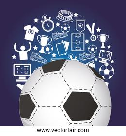 soccer sport balloon with set icons pattern