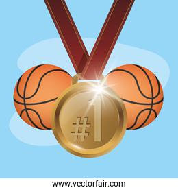 sport basketball balloons with golden medal