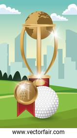 golf sport ball with trophy and medal