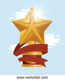 golden trophy star award icon