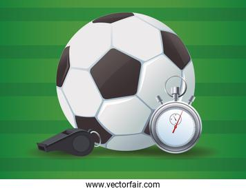 soccer sport balloon with referee whistle and chronometer