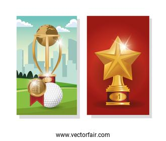 golf sport ball with trophies