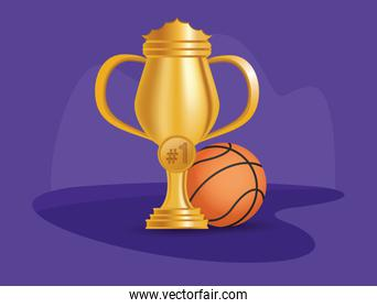sport basketball balloon with trophy cup