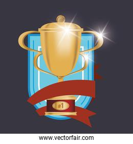 golden trophy cup award with ribbon