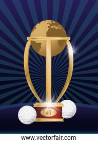golf sport balls with trophy world planet