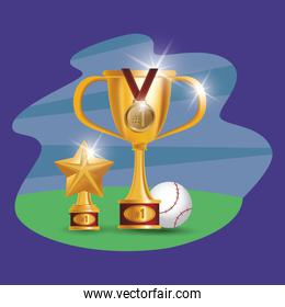 baseball sport ball with trophies awards