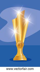 golden trophy award isolated icon