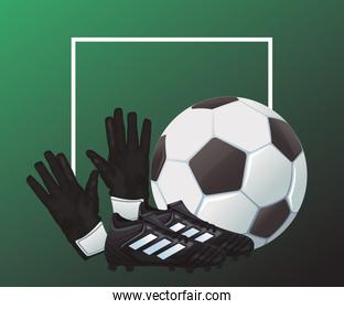 soccer sport balloon with goalkeeper gloves and shoes