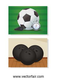 soccer sport balloon with referee whistle and bowling balls