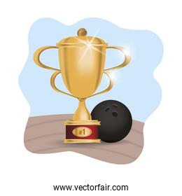 bowling ball sport with trophy cup award