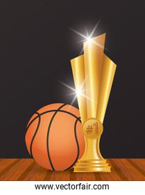 sport basketball balloon with trophy award