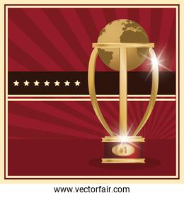 golden trophy world planet award icon