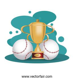 baseball sport balls with trophy cup