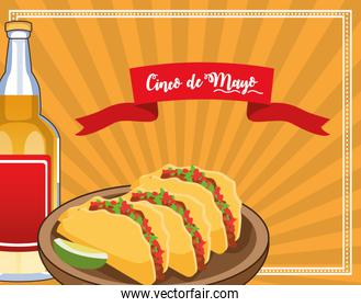 cinco de mayo celebration card with tacos and tequila