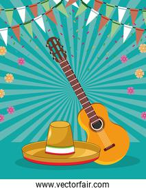 cinco de mayo celebration card with mexican hat and guitar