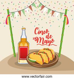 cinco de mayo celebration poster with tacos and tequila