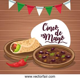 cinco de mayo celebration card with burrito and fried beans