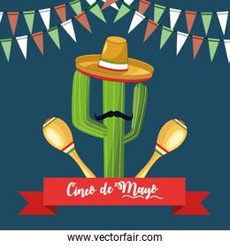 cinco de mayo card with cactu using mexican hat and maracas