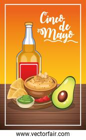 cinco de mayo card with tequila and mexican food