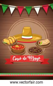 cinco de mayo celebration card with mexican hat and food