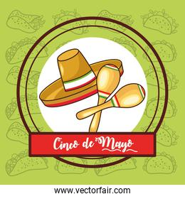 cinco de mayo celebration card with mexican hat and maracas