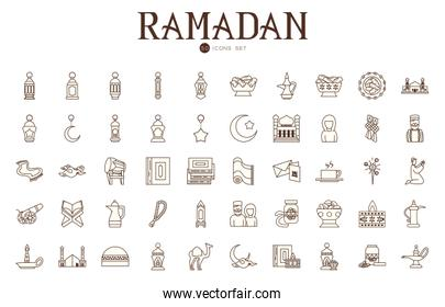 Ramadan line style icon set vector design
