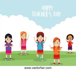 happy teachers day card with students in the field