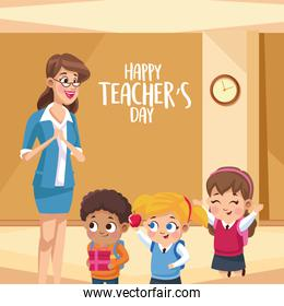 happy teachers day card with teacher in the school