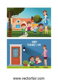 happy teachers day card with teacher and students outdoor house
