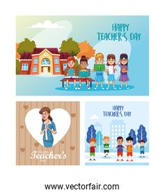happy teachers day card with students and teacher scene