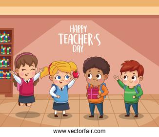 happy teachers day cartel with students in the school